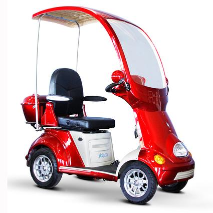 4-Wheel Fully Covered Scooter with Electromagnetic Brakes, Red