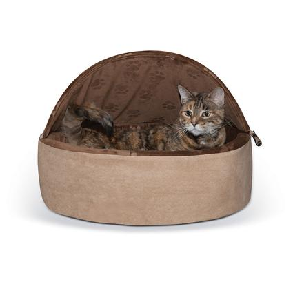 Hooded Self-Warming Kitty Bed, Large, Chocolate/Tan
