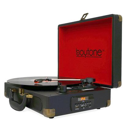5-in-1 Suitcase Style Turntable, Black