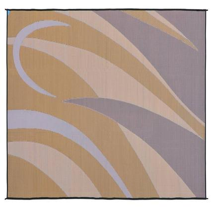 Reversible Graphic Design Patio Mat, Brown/Gold, 8 x 16