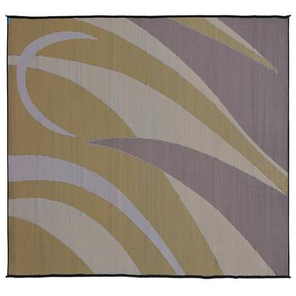 Reversible Graphic Patio Mat, Brown/Gold, 8 x 20