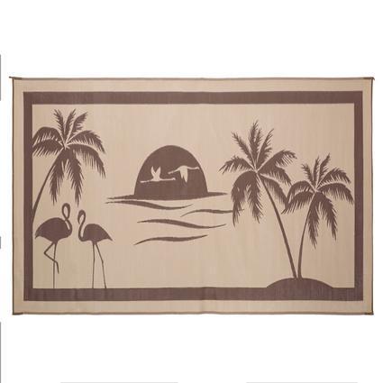 Patio Mat, Polypropylene, Tropical Oasis, 8' x 18' Brown/Beige